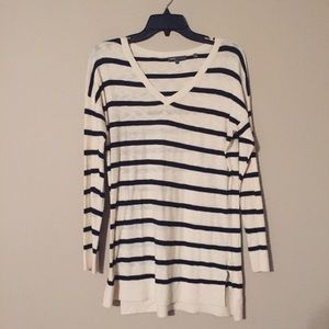 Vince navy blue striped long length tunic sweater